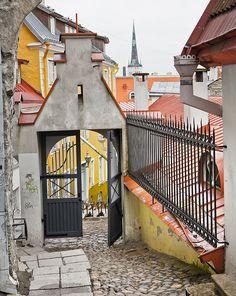 Steep street of Lühike jalg - Tallinn, Estonia