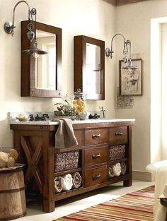 Farmhouse style is simple, inexpensive, adorable and adored by more and more people for its natural warm and earthy colors in their interior designs. It can create more rustic chic and warm to your…MoreMore #bathroomremodeling