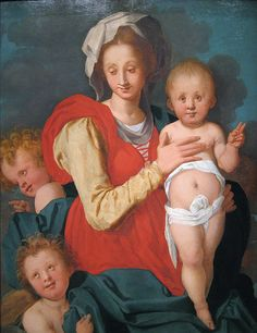 Madonna and Child with Two Angels, circa 1525 PONTORMO Jacopo Carucci, conosciuto come Jacopo da Pontormo, o semplicemente come il Pontormo, (Pontorme, 24 maggio 1494 – Firenze, 2 gennaio 1557)  #TuscanyAgriturismoGiratola
