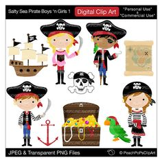 pirate clip art digital clipart - Salty Sea Pirate Boys n Girls 1 - Digital Clip Art - Personal Commercial Use