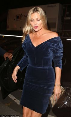 Glamorous: Kate Moss, swapped her usual smudged eye-liner for a rather glamorous display as she arrived at Annabels Private Members Club in Mayfair, London on Thursday night Rock Chick Style, Moss Fashion, Kate Moss Style, Queen Kate, Dress Up, Bodycon Dress, Haute Couture Dresses, Mannequin, Sexy Dresses