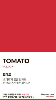 Color of today: Tomato디자인빛의 작은 프로젝트 오늘의색은 하루에 한 빛깔, 아름다운 색과 재미있는 ... Pantone Colour Palettes, Pantone Color, Color Patterns, Color Schemes, Pantone 2020, Color Test, Colour Pallette, Colour Board, Color Swatches