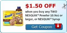 $1.50 off when you buy any TWO NESQUIK® Powder 10.9oz or larger, or NESQUIK® Syrup