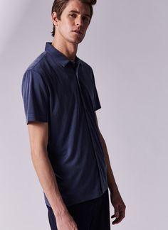 Camisa de manga corta en modal - Para él | Adolfo Dominguez shop online