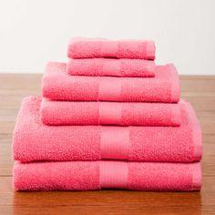 Deep Pink Deluxe Six-Piece Cotton Towel Set $39.95