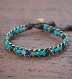 Turquoise Stone mix Single Wrap bracelet Beaded bracelet