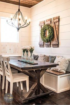 How to Build Simple and Inexpensive Rustic Shutters Wall Decor rustic dining room wall decor - Dining Room Decor Farmhouse Style Furniture, Farmhouse Dining Room Table, Dining Room Wall Decor, Country Farmhouse Decor, Farmhouse Style Kitchen, Dining Room Design, Room Decor, Farmhouse Ideas, Modern Farmhouse
