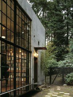 Windows, books, forest.