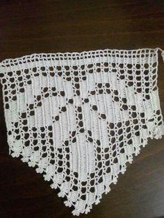 This Pin was discovered by neh Crochet Boarders, Crochet Edging Patterns, Crochet Lace Edging, Crochet Art, Crochet Doilies, Crochet Stitches, Fillet Crochet, Crochet Curtains, Irish Lace