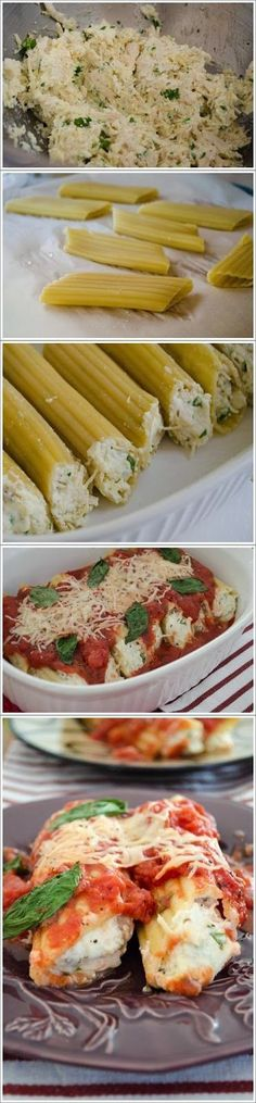 Chicken Manicotti Chicken Parmesan Stuffed Manicotti (might try this with zucchini instead of noodles!)Chicken Parmesan Stuffed Manicotti (might try this with zucchini instead of noodles! Think Food, I Love Food, Food For Thought, Good Food, Yummy Food, Tasty, Great Recipes, Dinner Recipes, Favorite Recipes