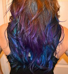 Top 50 Funky Hairstyles for Women Long Brown Hair with Colored Tips - I want this! Galaxy Hair Color, Ombre Hair Color, Purple Hair, Purple Tips, Blue Ombre, Hair Colors, Pink Blue, Highlights For Dark Brown Hair, Long Brown Hair