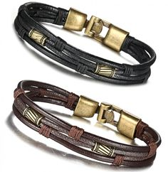FIBO STEEL Leather Bracelet for Men Braided Wrist Cuff Vintage, 8.5inches, New  | eBay