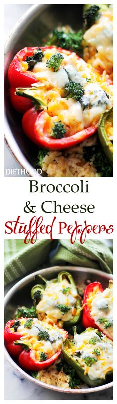 Broccoli and Cheese Stuffed Peppers Recipe _ These amazing stuffed peppers have all the comfort and flavor you want, with the bonus of veggies, rice, and cheddar & white cheddar cheese! Vegetable Recipes, Vegetarian Recipes, Cooking Recipes, Healthy Recipes, Cheese Stuffed Peppers, Good Food, Yummy Food, Tasty, Broccoli And Cheese