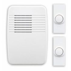 heath zenith wireless white plugin door chime kit with 2 push buttons add a touch of class to the atmosphere in your home with an 8 or 2 note