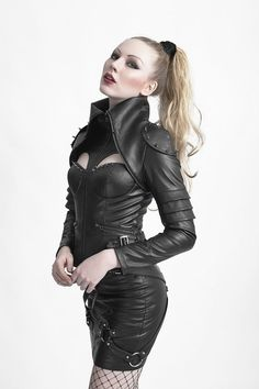 PunkRave Lederjacke Dark Huntress mit Nieten Gothic Burlesque Military