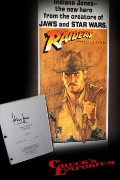 Framed insert-sized poster and autographed script from Indiana Jones and the Raiders of the Lost Ark. Harrison Ford signed the script, and it also a letter on the back from Ford's attorney to a charities he supported, giving them permission to sell these two pieces, along with two others, to raise funds for their organization. A great, framed piece will display well because of its smaller size. Contact Chuck for pricing.