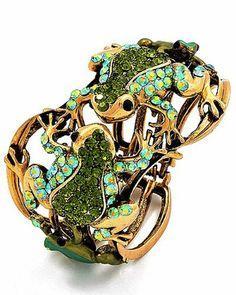 Beautiful Goldtone Green Rhinestone Frog Fold Over Bangle