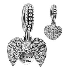 925 Sterling Silver Guardian Angel Wings Open Heart Dangle Charm Bead for European Snake Bracelets. Perfect fits Pandora sterling silver charms bracelet and bangle for women girls kids, compatible with Biagi, Troll and Chamilia European bracelets. Please kindly check the second picture about the size before purchasing. ANGEMIEL bracelet charms are genuine 925 Sterling Silver. 100% safe for sensitive skin. All of the enamel process and CZ diamond mosaics are done under a microscope by a...