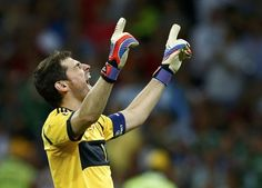 Spain's goalkeeper Iker Casillas celebrates after third goal, scored by Fernando Torres (not pictured) during their Euro 2012 final soccer match against Italy at the Olympic stadium in Kiev, July 1, 2012.