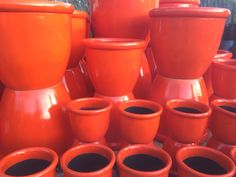 Bright Orange Pots to bring a vibrant colour into your landscaping project. Potsonline Australia have a large selection of bright pots in a broad colour range. #garden
