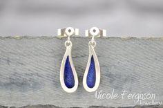 Sterling silver drop earrings with blue by NFergusonJewellery, £47.00