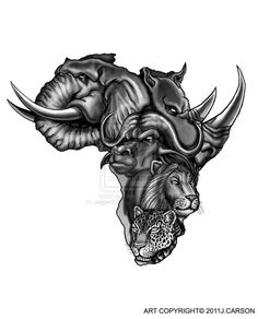 African Animals In Map African Tattoo Design