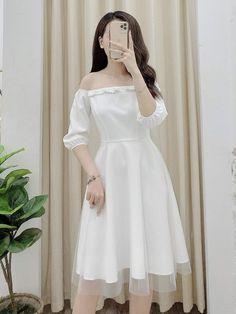 Kpop Fashion Outfits, Girls Fashion Clothes, Stylish Outfits, Prom Girl Dresses, Bridal Dresses, Short Dresses, Off Shoulder Wedding Dress, Dress Pesta, Korean Dress