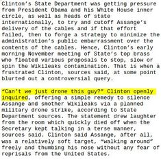 "Via @wikileaks :  Hillary Clinton on Assange ""Can't we just drone this guy""  -- report http://truepundit.com/under-intense-pressure-to-silence-wikileaks-secretary-of-state-hillary-clinton-proposed-drone-strike-on-julian-assange/ …"