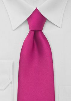 Hot Pink Mens Tie in Extra Long