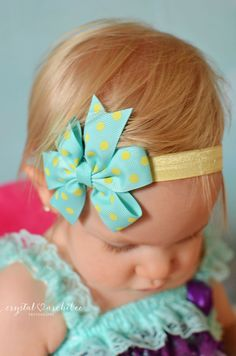 U CHOOSE COLOR Polka dot Hair bow baby girl por BabyBloomzBoutique