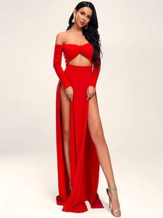 To find out about the Missord M-slit Hem Peekaboo Front Bardot Maxi Dress at SHEIN, part of our latest Dresses ready to shop online today! Belted Shirt Dress, Slit Dress, Hollywood Fashion, Dress Outfits, Fashion Dresses, Sexy Dresses, Bardot Dress, Metallic Dress, Latest Dress
