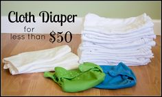 Cloth Diaper for less than $50! Great to try out cloth diapering or if you're on a limited income. Everything you'd need to diaper from infancy to potty training!