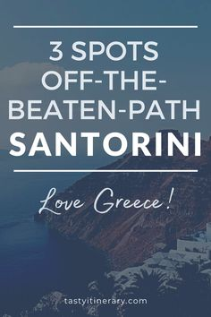 Get away from the crowds. Rent a car and hit these spots off the beaten path in Santorini Greece. See what else this incredible island has to offer. #thingstodoingreece #santorinibeach #santorinifood #santorinitravel #greecetravel #greekislands Santorini Beaches, Santorini Travel, Santorini Greece, Mykonos, Greece Vacation, Greece Travel, Greek Islands, Athens, How To Plan