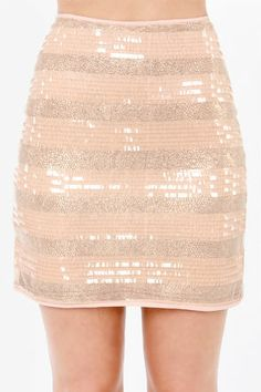 adbec7c7ebe Mink Pink Eyes on the Prize Rose Gold and Blush Sequin Skirt