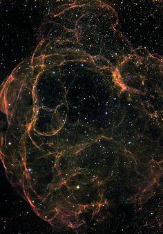 A natural color representation of supernova remnant Simeis 147 Photographer: Lynn Hilborn