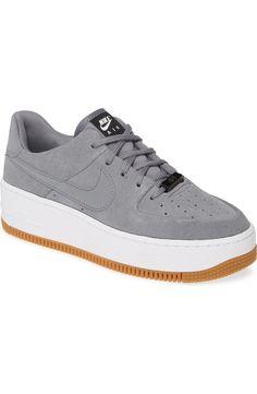 Nike Air Force 1 Sage Low Platform Sneaker in all white! Buy Nike Shoes, Black Nike Shoes, Air Force Shoes, Nike Air Force, Cute Sneakers, Sneakers Nike, Zapatillas All Star, Walking Socks, Cute Nikes