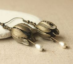 Tulip flower Earrings antique bronze Dangle Earring Clip On Earring or Hooks Antique brass flower earring floral jewelry French romatic E613...