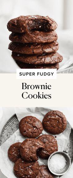 Super Fudgy Brownie Cookies - Broma Bakery Biscuits Brownies, Cookies Et Biscuits, Dessert Biscuits, Chip Cookies, Baking Recipes, Cookie Recipes, Dessert Recipes, Easy Desserts, Delicious Desserts