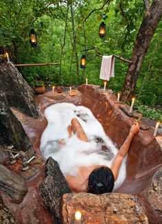From outdoor soakers to tubs with built in TV, these dream baths would be the perfect way relax.
