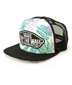 d09f388b818 This trucker hat is made with floral print detailing finished with a Vans  Off The Wall