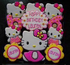 Hello Kitty for my good friend Vivian's daughter, Lauren. Hello Kitty Cookies, Hello Kitty Toys, Hello Kitty Themes, Hello Kitty Cake, Hello Kitty Birthday, 6th Birthday Cakes, Kids Birthday Themes, 6th Birthday Parties, Birthday Cookies