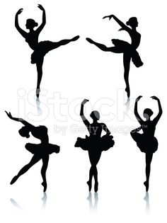 Ballet dancer silhouettes royalty-free stock vector art