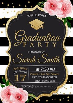 142 best graduation party invitations images on pinterest graduation party invitation black white stripe floral graduation party invite pink flowers black white and gold grad party stopboris Images