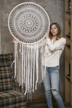 Dream Catcher White, Large Dream Catcher, Dream Catcher Boho, Crochet Dreamcatcher, Crochet Mandala, Dream Catcher Nursery, Wall Patterns, Tapestry Wall Hanging, Textiles