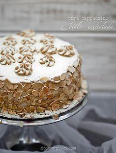 Cappuccino Cake with White Chocolate Polish Desserts, Desserts To Make, Cookie Desserts, Italian Cake, Italian Desserts, Food Cakes, Cupcake Cakes, Cake Recept, Sweet Coffee