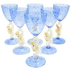 Set of Eight Salviati Hand Blown Blue Venetian Murano Goblets with Dragons 1