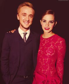 Tom Felton with Emma Watson, Draco and Hermoine
