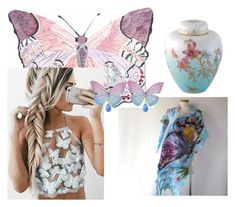 """""""Spring butterfly"""" by galafilc on Polyvore featuring moda, Wedgwood, Spring, jewelry, butterfly i scarf"""