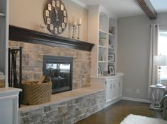 Fireplace with built-ins, long mantel