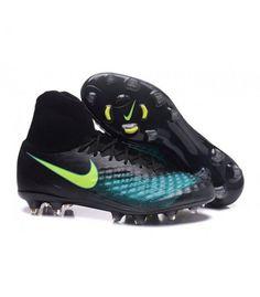 detailed look abb00 1bede Acheter Nike Magista Obra II FG Chaussures de football Noir Bleu Vert pas  cher en ligne